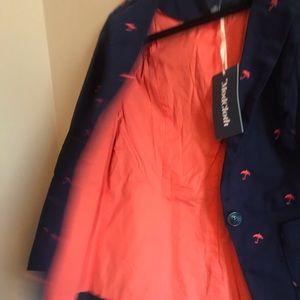 Modcloth Jackets & Coats - Legendary lifestyle navy blazer w/melon umbrellas